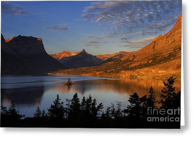 Dusty Blue Greeting Cards - Golden Wild Goose Island Greeting Card by Mark Kiver