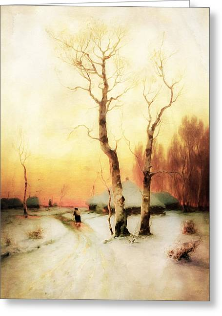 Snow Scene Mixed Media Greeting Cards - Golden Winter Of Forgotten Dreams Greeting Card by Georgiana Romanovna