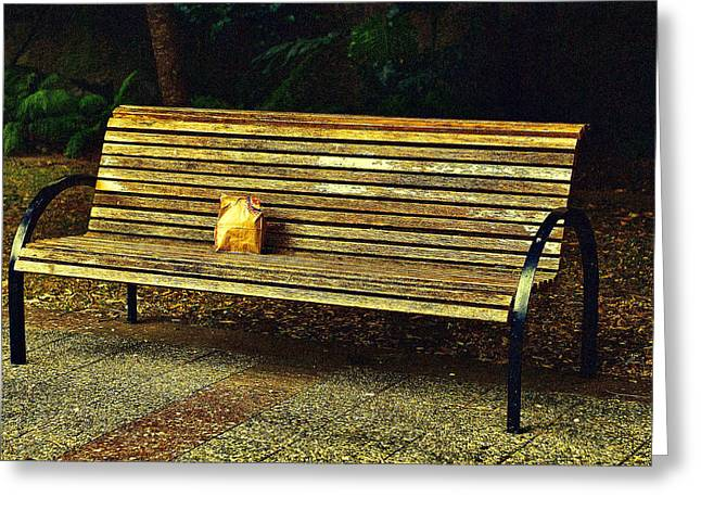 Brown Paper Bag Greeting Cards - Golden Wood Bench Greeting Card by Linda Phelps