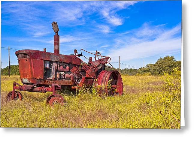 Golden Years - Rust Red Tractor In Rural Georgia Greeting Card by Mark E Tisdale