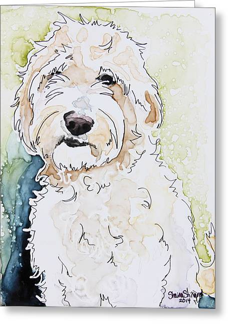 Pen And Paper Greeting Cards - Goldendoodle Greeting Card by Shaina Stinard