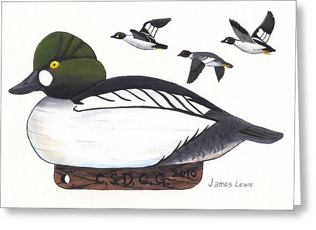 James Lewis Greeting Cards - Goldeneye Decoy Greeting Card by James Lewis