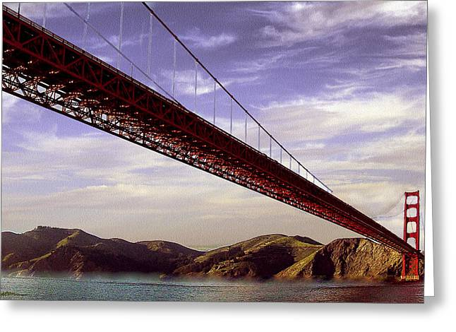 Famous Bridge Greeting Cards - Goldengate Bridge San Francisco Greeting Card by  Bob and Nadine Johnston