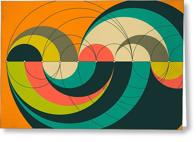Geometric Art Greeting Cards - Goldner Harary Arc Graph Greeting Card by Jazzberry Blue