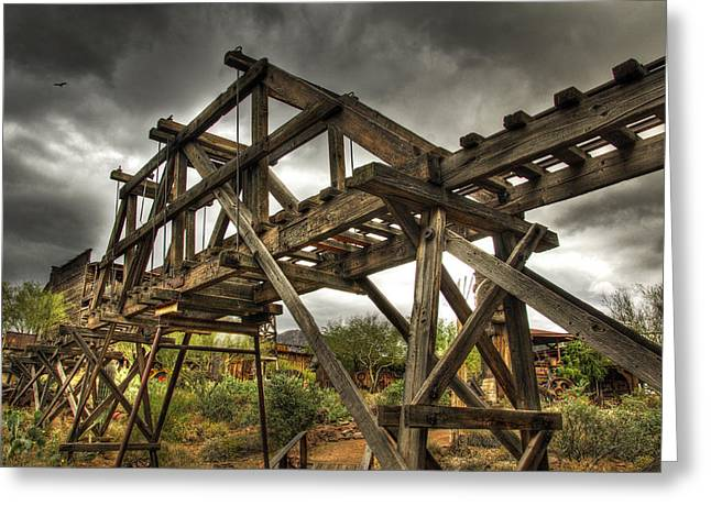 Historic Architecture Greeting Cards - Goldfield Ghost Town - The Bridge  Greeting Card by Saija  Lehtonen