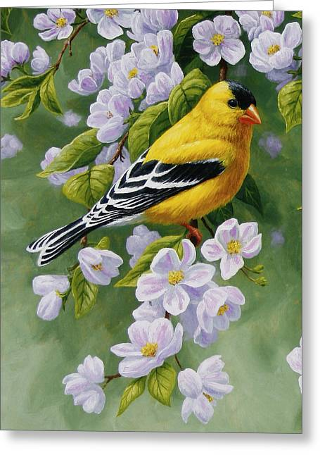 Pink Blossoms Greeting Cards - Goldfinch Blossoms Greeting Card 1 Greeting Card by Crista Forest