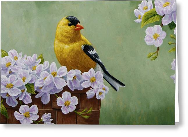 Pink Blossoms Greeting Cards - Goldfinch Blossoms Greeting Card 3 Greeting Card by Crista Forest