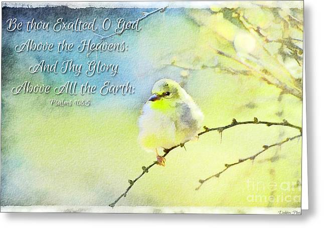 Goldfinch Digital Art Greeting Cards - Goldfinch in Golden Light - Digital Paint with verse Greeting Card by Debbie Portwood