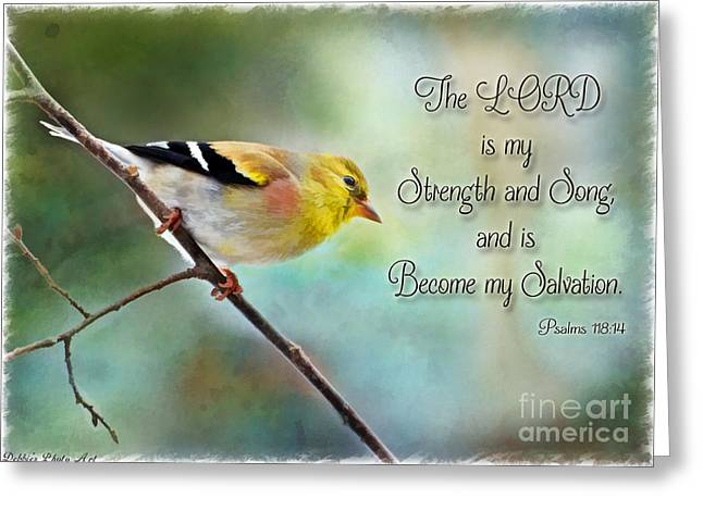 Debbie Portwood Greeting Cards - Goldfinch with Rosy Shoulder - Digital Paint and Verse Greeting Card by Debbie Portwood