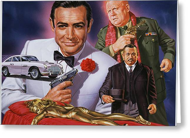 Connery Greeting Cards - Goldfinger Greeting Card by Dick Bobnick