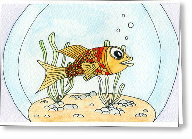 Goldfish Mixed Media Greeting Cards - Goldfish in Bowl Greeting Card by Dan  Orapello