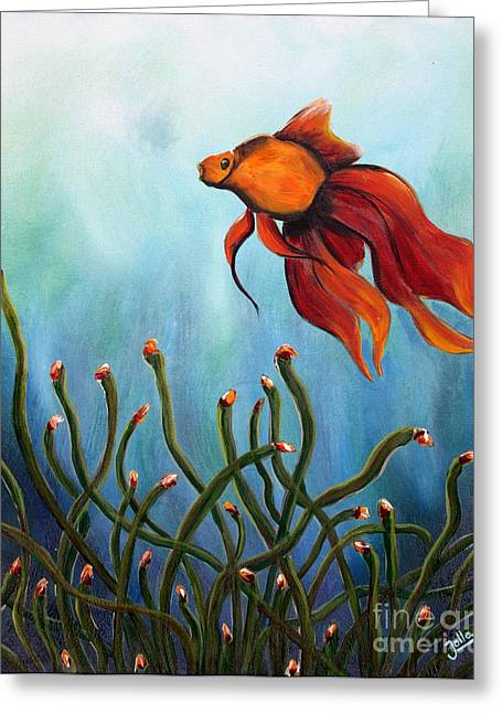 Olive Yellow Grass Greeting Cards - Goldfish Greeting Card by Jolanta Anna Karolska