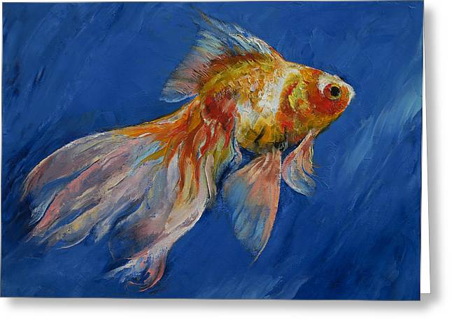 Veiled Greeting Cards - Goldfish Greeting Card by Michael Creese