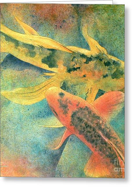 Japanese Koi Greeting Cards - Goldfish Greeting Card by Robert Hooper