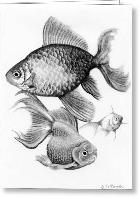 Hand Drawn Greeting Cards - Goldfish Greeting Card by Sarah Batalka