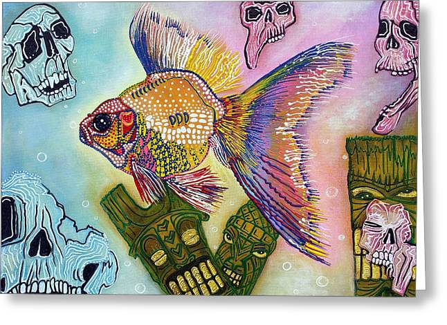 Tiki Art Greeting Cards - Goldfish Spirits Greeting Card by Laura Barbosa