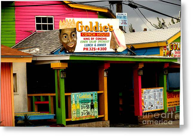 Chowder House Greeting Cards - Goldies Conch House Greeting Card by Luther   Fine Art