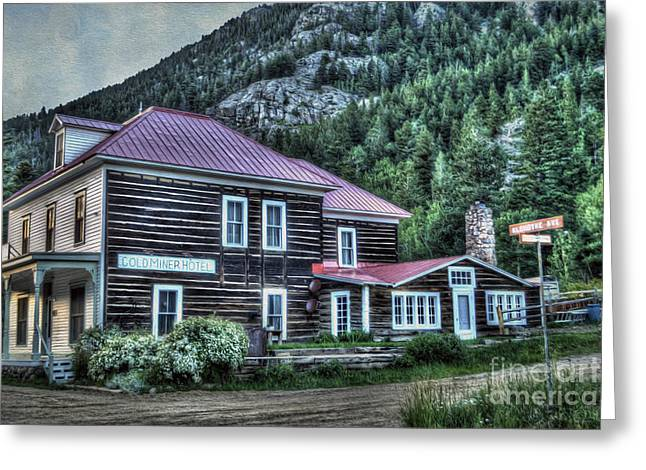 Historic Buildings Greeting Cards - Goldminer Hotel Greeting Card by Juli Scalzi