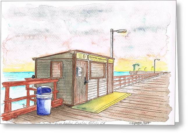 Goleta Pier Angler Center - Goleta Beach - California Greeting Card by Carlos G Groppa
