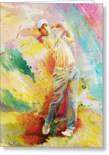 Watercolor Tiger Greeting Cards - Golf Action 01 Greeting Card by Catf