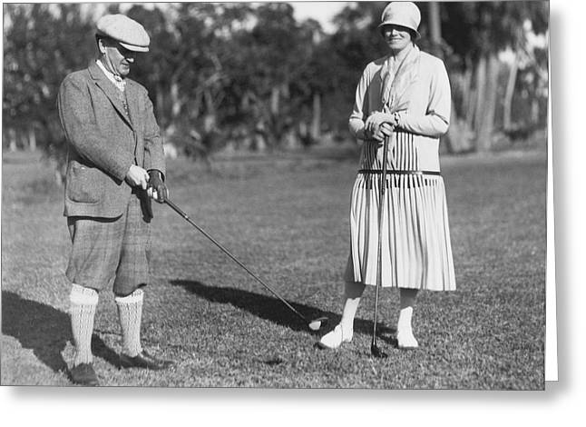Golf At Palm Beach Greeting Card by Underwood Archives