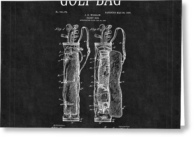 Caddy Greeting Cards - Golf Bag Patent 2 Greeting Card by Andrew Fare