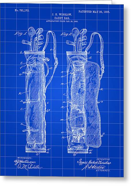 Caddy Greeting Cards - Golf Bag Patent 1905 - Blue Greeting Card by Stephen Younts