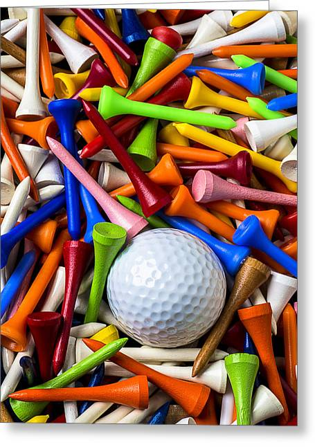 Spheres Greeting Cards - Golf ball and tees Greeting Card by Garry Gay