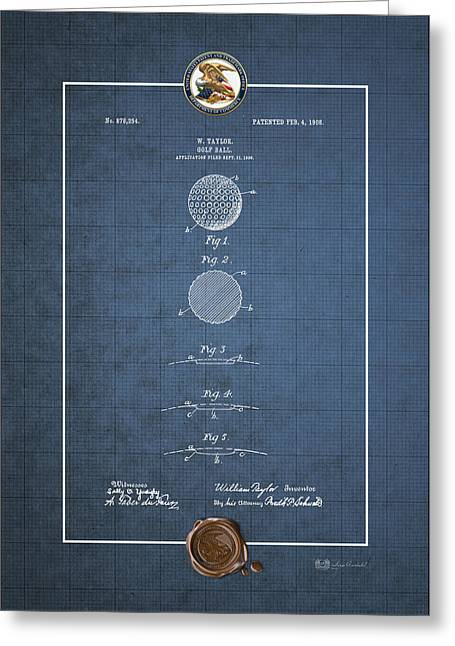 Sports Memorabilia Greeting Cards - Golf Ball by William Taylor - Vintage Patent Blueprint Greeting Card by Serge Averbukh