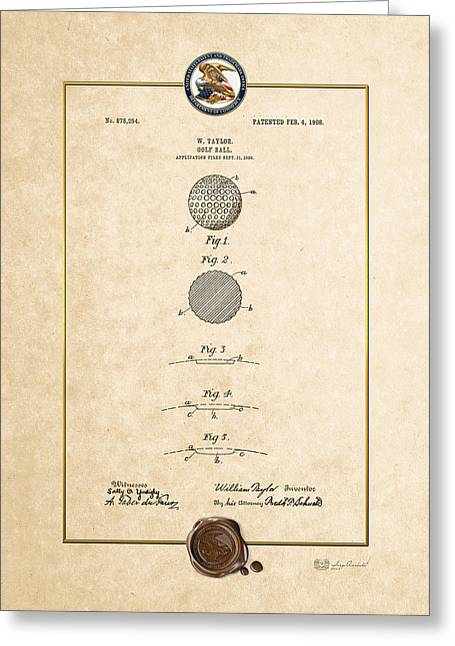 Sports Memorabilia Greeting Cards - Golf Ball by William Taylor - Vintage Patent Document Greeting Card by Serge Averbukh