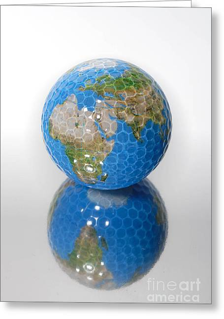 Planet Map Greeting Cards - Golf Ball Globe Greeting Card by Amy Cicconi