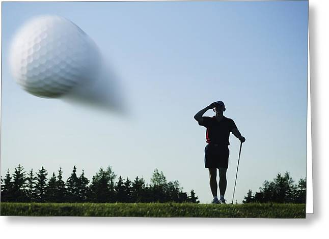 Satisfaction Greeting Cards - Golf Ball In Flight Greeting Card by Kelly Redinger