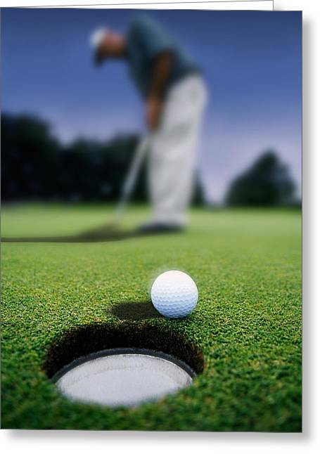 Sink Holes Greeting Cards - Golf Ball Near Cup Greeting Card by Darren Greenwood