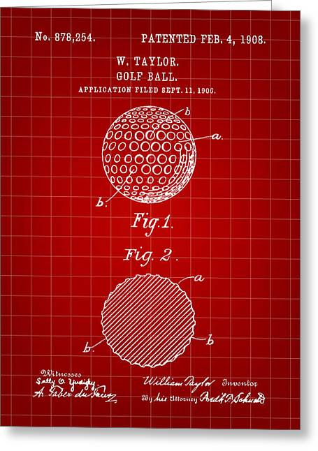 Bogey Greeting Cards - Golf Ball Patent 1906 - Red Greeting Card by Stephen Younts