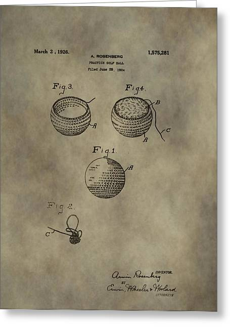 Caddy Mixed Media Greeting Cards - Golf Ball Patent Greeting Card by Dan Sproul