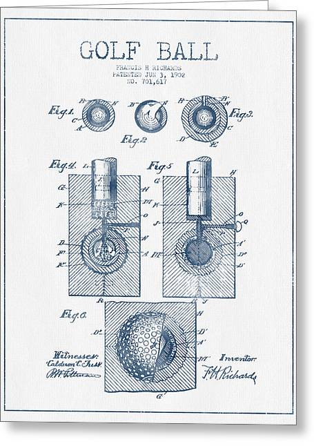 Caddy Greeting Cards - Golf Ball Patent Drawing From 1902 - Blue Ink Greeting Card by Aged Pixel