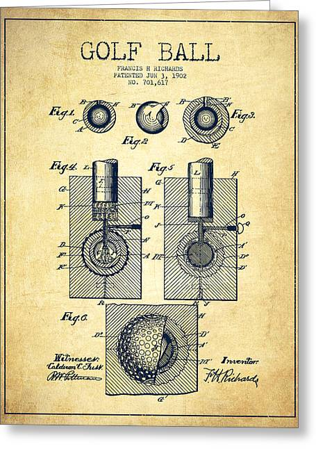 Properties Greeting Cards - Golf Ball Patent Drawing From 1902 - Vintage Greeting Card by Aged Pixel