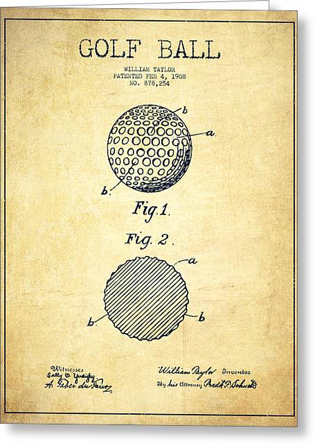 Properties Greeting Cards - Golf Ball Patent Drawing From 1908 - Vintage Greeting Card by Aged Pixel