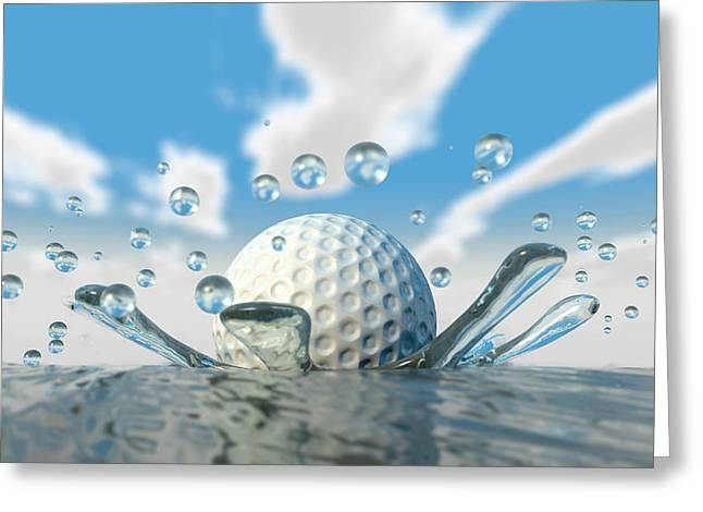 Obstacles Greeting Cards - Golf Ball Water Splash Greeting Card by Allan Swart