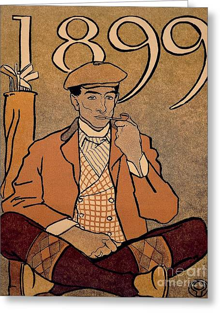 Tobacconist Greeting Cards - Golf Calendar Greeting Card by Edward Penfield