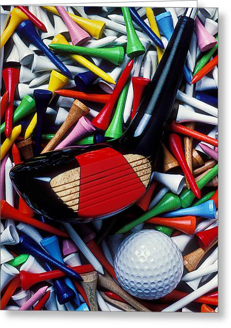 Golfing Photographs Greeting Cards - Golf club and tees Greeting Card by Garry Gay