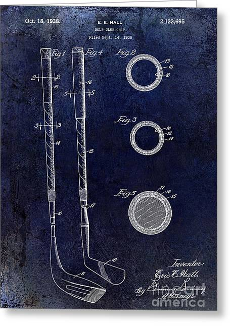 Lpga Greeting Cards - 1938 Golf Club Grip Patent Drawing Greeting Card by Jon Neidert