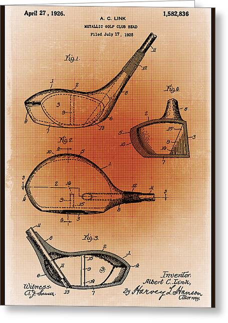 Sepia Chalk Greeting Cards - Golf Club Patent Blueprint Drawing Sepia Greeting Card by Tony Rubino
