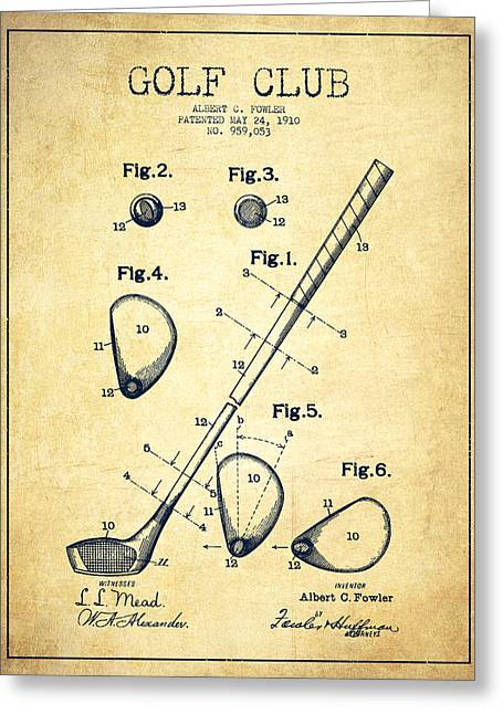 Properties Greeting Cards - Golf Club Patent Drawing From 1910 - Vintage Greeting Card by Aged Pixel