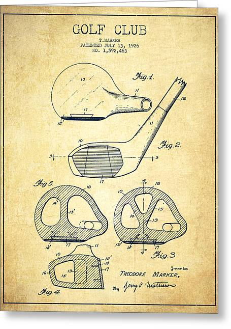 Golf Digital Art Greeting Cards - Golf Club Patent Drawing From 1926 - Vintage Greeting Card by Aged Pixel