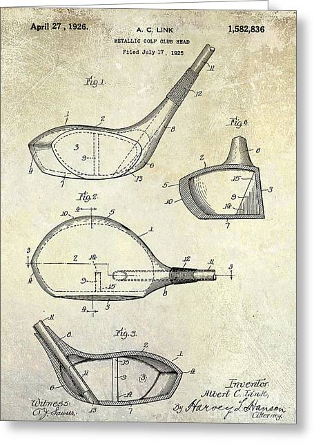 Golf Photographs Greeting Cards - 1926 Golf Club Patent Drawing Greeting Card by Jon Neidert