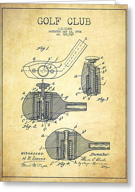 Course Greeting Cards - Golf Clubs Patent Drawing From 1904 - Vintage Greeting Card by Aged Pixel