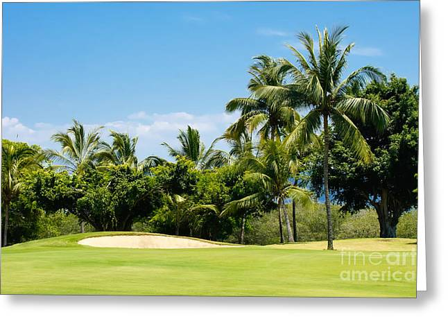 Tropical Golf Course Greeting Cards - Golf Course Greeting Card by Aged Pixel