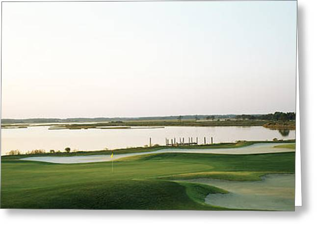 Yacht Club Greeting Cards - Golf Course At The Coast, Ocean City Greeting Card by Panoramic Images