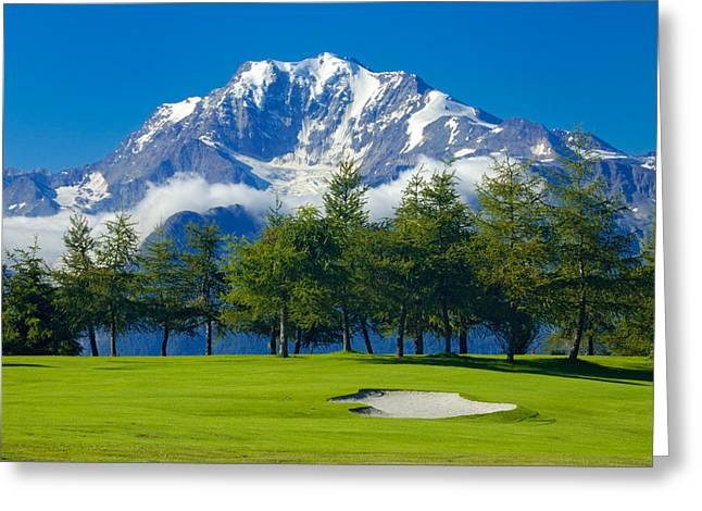 Best Sellers -  - Snow-covered Landscape Greeting Cards - Golf Course in the mountains - Riederalp Swiss Alps Switzerland Greeting Card by Matthias Hauser